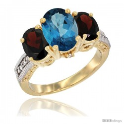 14K Yellow Gold Ladies 3-Stone Oval Natural London Blue Topaz Ring with Garnet Sides Diamond Accent