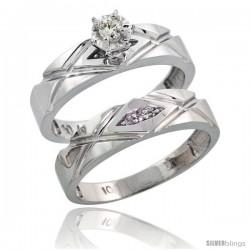 10k White Gold Ladies' 2-Piece Diamond Engagement Wedding Ring Set, 3/16 in wide