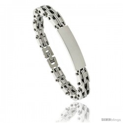 Gent's Stainless Steel ID Bracelet, 3/8 in wide, 8 in long