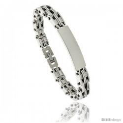 Gent's Stainless Steel ID Bracelet, 3/8 in wide, 8 in long