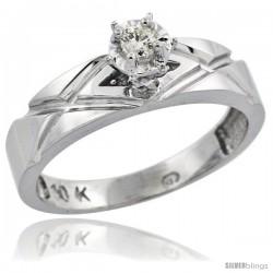10k White Gold Diamond Engagement Ring, 3/16 in wide -Style Ljw101er