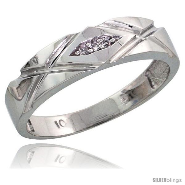 10k White Gold Ladies Diamond Wedding Band 3 16 In Wide Style
