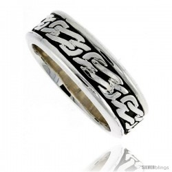 Sterling Silver Men's Spinner Ring Celtic Knot Design Handmade 5/16 wide