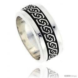 Sterling Silver Men's Spinner Ring Celtic Knot Design Handmade 3/8 in wide
