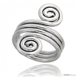 Sterling Silver Hand Made Freeform Wire Wrap Ring, 1 1/8 in (28 mm) wide
