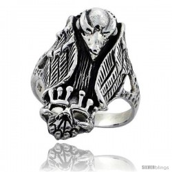 Sterling Silver Gothic Biker Vulture with Crowned Skull Ring 1 1/4 in wide