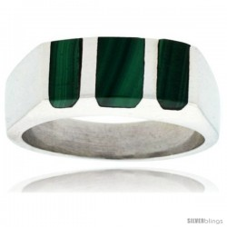 Gent's Sterling Silver Striped Malachite Ring -Style Xrs460