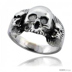 Sterling Silver Gothic Biker Triple Skull Ring 5/8 in wide