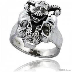 Sterling Silver Gothic Biker Horned Skull Ring 7/8 in wide