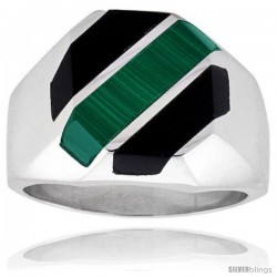 Gent's Sterling Silver Black Obsidian with Malachite Ring