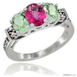 14K White Gold Natural Pink Topaz & Green Amethyst Ring 3-Stone Oval with Diamond Accent