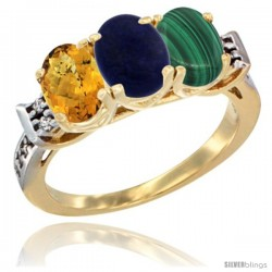 10K Yellow Gold Natural Whisky Quartz, Lapis & Malachite Ring 3-Stone Oval 7x5 mm Diamond Accent