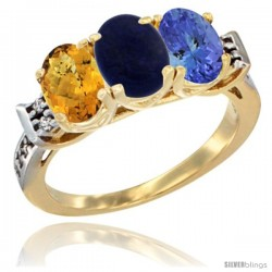 10K Yellow Gold Natural Whisky Quartz, Lapis & Tanzanite Ring 3-Stone Oval 7x5 mm Diamond Accent