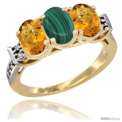 10K Yellow Gold Natural Malachite & Whisky Quartz Sides Ring 3-Stone Oval 7x5 mm Diamond Accent