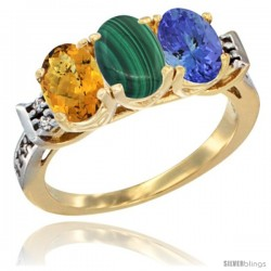 10K Yellow Gold Natural Whisky Quartz, Malachite & Tanzanite Ring 3-Stone Oval 7x5 mm Diamond Accent