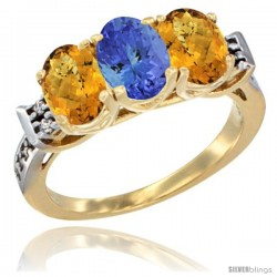 10K Yellow Gold Natural Tanzanite & Whisky Quartz Sides Ring 3-Stone Oval 7x5 mm Diamond Accent