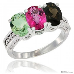 14K White Gold Natural Green Amethyst, Pink Topaz & Smoky Topaz Ring 3-Stone 7x5 mm Oval Diamond Accent