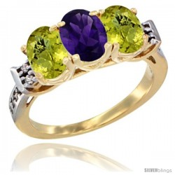 10K Yellow Gold Natural Amethyst & Lemon Quartz Sides Ring 3-Stone Oval 7x5 mm Diamond Accent