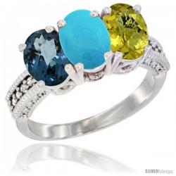 14K White Gold Natural London Blue Topaz, Turquoise & Lemon Quartz Ring 3-Stone 7x5 mm Oval Diamond Accent
