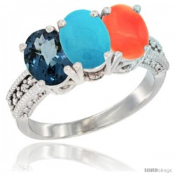 14K White Gold Natural London Blue Topaz, Turquoise & Coral Ring 3-Stone 7x5 mm Oval Diamond Accent