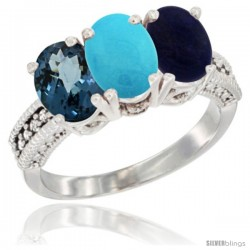 14K White Gold Natural London Blue Topaz, Turquoise & Lapis Ring 3-Stone 7x5 mm Oval Diamond Accent