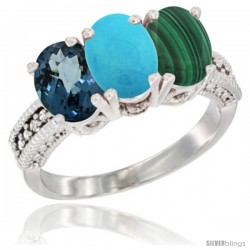 14K White Gold Natural London Blue Topaz, Turquoise & Malachite Ring 3-Stone 7x5 mm Oval Diamond Accent