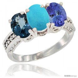 14K White Gold Natural London Blue Topaz, Turquoise & Tanzanite Ring 3-Stone 7x5 mm Oval Diamond Accent