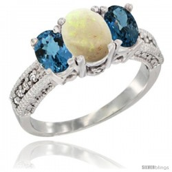 14k White Gold Ladies Oval Natural Opal 3-Stone Ring with London Blue Topaz Sides Diamond Accent