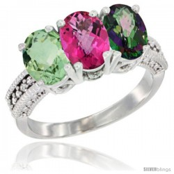 14K White Gold Natural Green Amethyst, Pink Topaz & Mystic Topaz Ring 3-Stone 7x5 mm Oval Diamond Accent