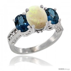14K White Gold Ladies 3-Stone Oval Natural Opal Ring with London Blue Topaz Sides Diamond Accent