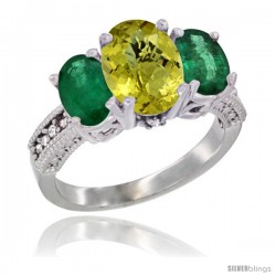 14K White Gold Ladies 3-Stone Oval Natural Lemon Quartz Ring with Emerald Sides Diamond Accent