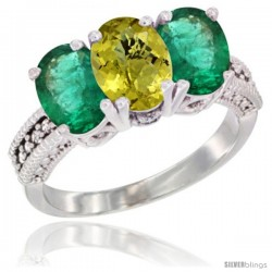 14K White Gold Natural Lemon Quartz & Emerald Sides Ring 3-Stone 7x5 mm Oval Diamond Accent