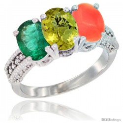 14K White Gold Natural Emerald, Lemon Quartz & Coral Ring 3-Stone 7x5 mm Oval Diamond Accent