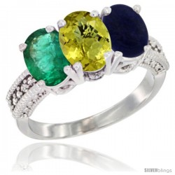 14K White Gold Natural Emerald, Lemon Quartz & Lapis Ring 3-Stone 7x5 mm Oval Diamond Accent