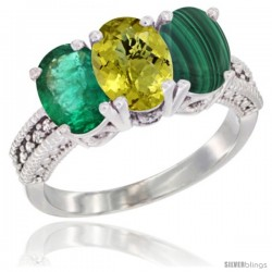14K White Gold Natural Emerald, Lemon Quartz & Malachite Ring 3-Stone 7x5 mm Oval Diamond Accent