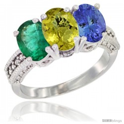14K White Gold Natural Emerald, Lemon Quartz & Tanzanite Ring 3-Stone 7x5 mm Oval Diamond Accent