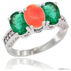 14K White Gold Natural Coral & Emerald Sides Ring 3-Stone 7x5 mm Oval Diamond Accent