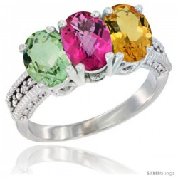 14K White Gold Natural Green Amethyst, Pink Topaz & Citrine Ring 3-Stone 7x5 mm Oval Diamond Accent