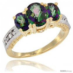 10K Yellow Gold Ladies Oval Natural Mystic Topaz 3-Stone Ring Diamond Accent