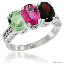 14K White Gold Natural Green Amethyst, Pink Topaz & Garnet Ring 3-Stone 7x5 mm Oval Diamond Accent
