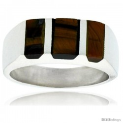 Gent's Sterling Silver Striped Tiger Eye Ring -Style Xrs459