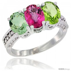 14K White Gold Natural Green Amethyst, Pink Topaz & Peridot Ring 3-Stone 7x5 mm Oval Diamond Accent