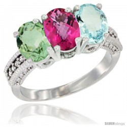 14K White Gold Natural Green Amethyst, Pink Topaz & Aquamarine Ring 3-Stone 7x5 mm Oval Diamond Accent