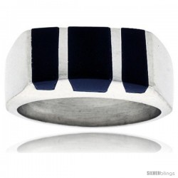 Gent's Sterling Silver Striped Black Obsidian Ring -Style Xrs458