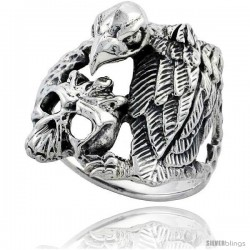 Sterling Silver Gothic Biker Vulture with Skull Ring 1 in wide