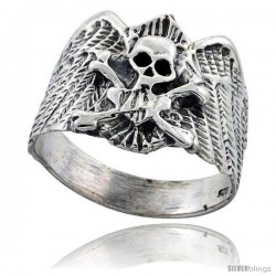 Sterling Silver Skull & Crossbones Gothic Biker Ring 3/4 in wide