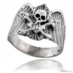 Sterling Silver Skull & Crossbones Gothic Biker Ring 3/4 in wide