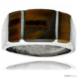 Gent's Sterling Silver Striped Tiger Eye Ring