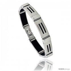 Stainless Steel and Rubber Bracelet, 8 in long -Style Bss12