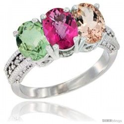 14K White Gold Natural Green Amethyst, Pink Topaz & Morganite Ring 3-Stone 7x5 mm Oval Diamond Accent